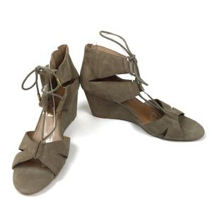 Dolce Vita Tan Suede Wedge Lace Up Sandals 9.5